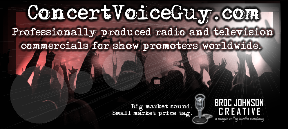 ConcertVoiceGuy.com - Radio & Television TV Commercials For Small Market Concert Promoters